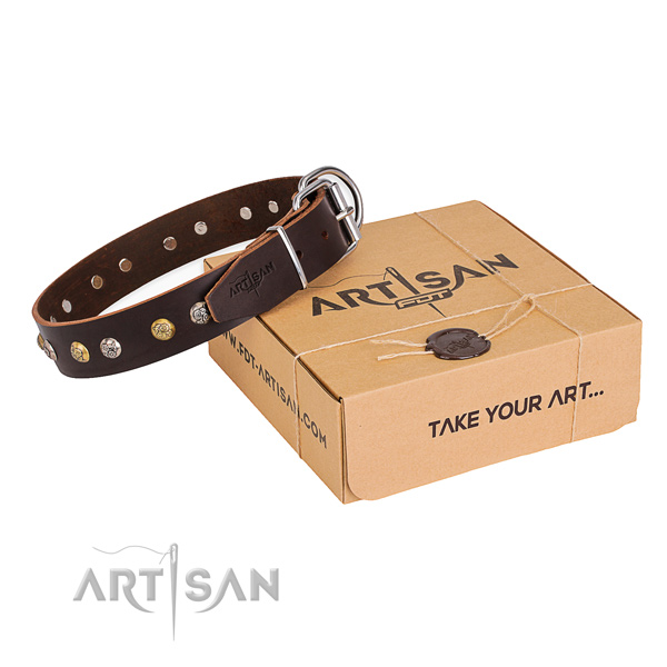 Best quality natural genuine leather dog collar made for stylish walking