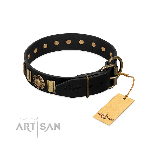 Flexible full grain natural leather dog collar with adornments