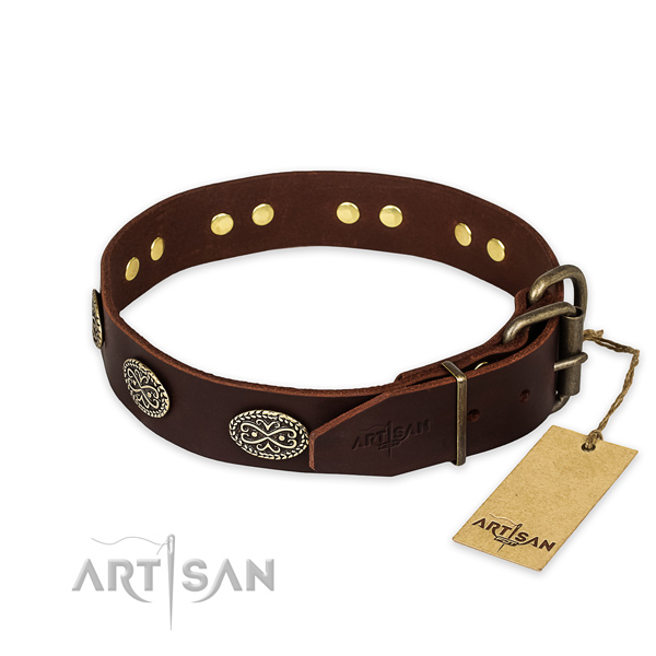 Strong buckle on full grain natural leather collar for your attractive pet