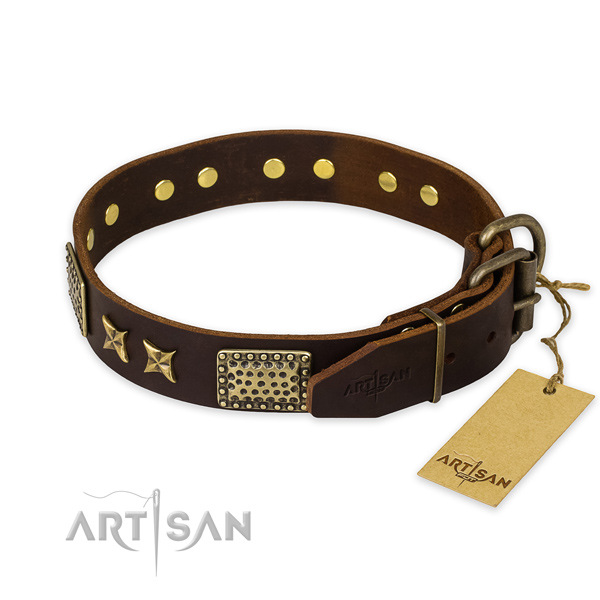 Durable D-ring on genuine leather collar for your handsome dog