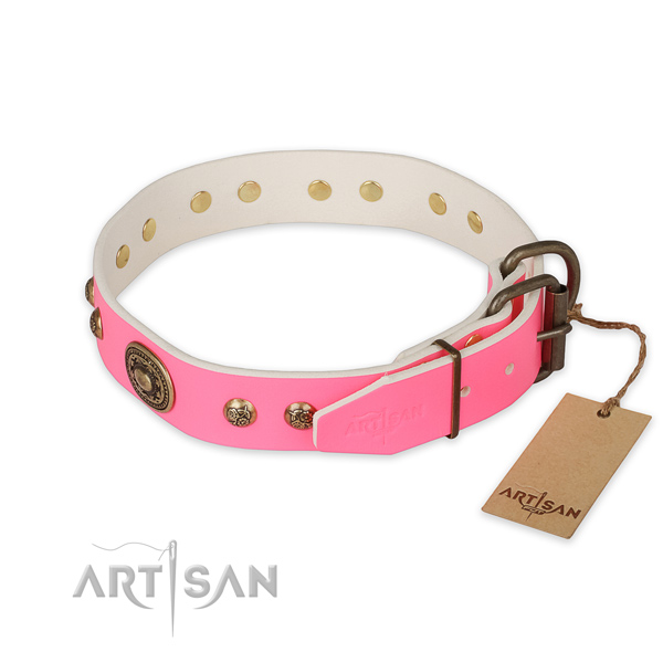 Rust resistant buckle on full grain genuine leather collar for stylish walking your four-legged friend