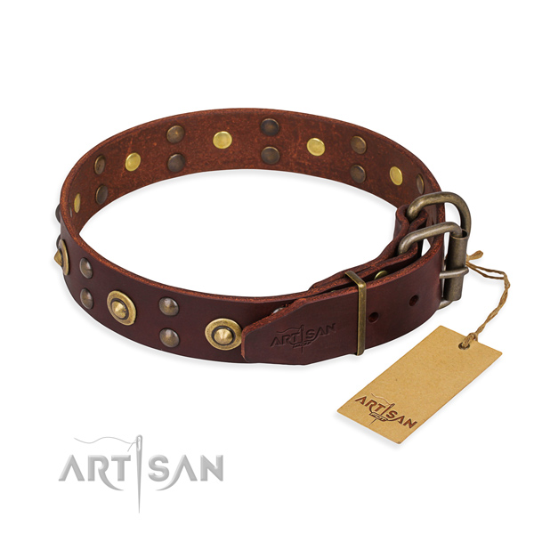 Durable hardware on full grain genuine leather collar for your impressive pet