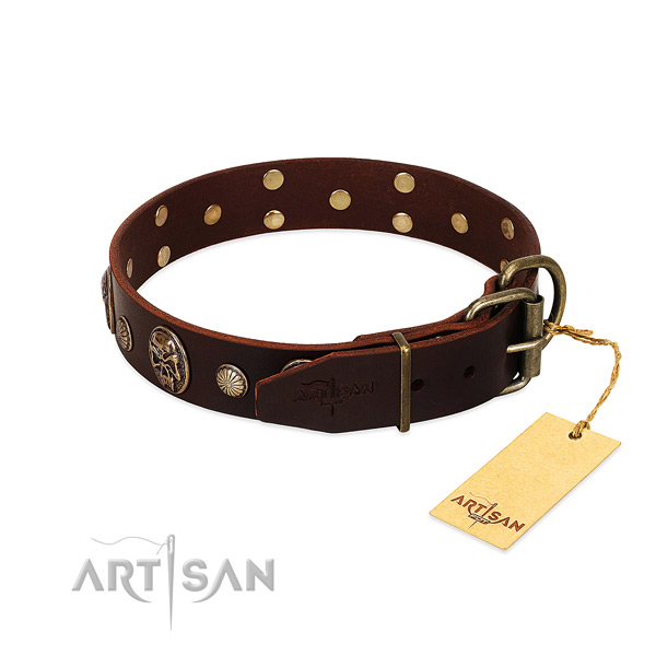 Durable studs on comfortable wearing dog collar
