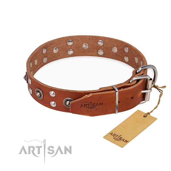 Corrosion resistant buckle on genuine leather collar for your handsome pet