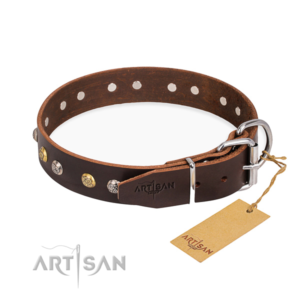 Strong full grain genuine leather dog collar made for walking