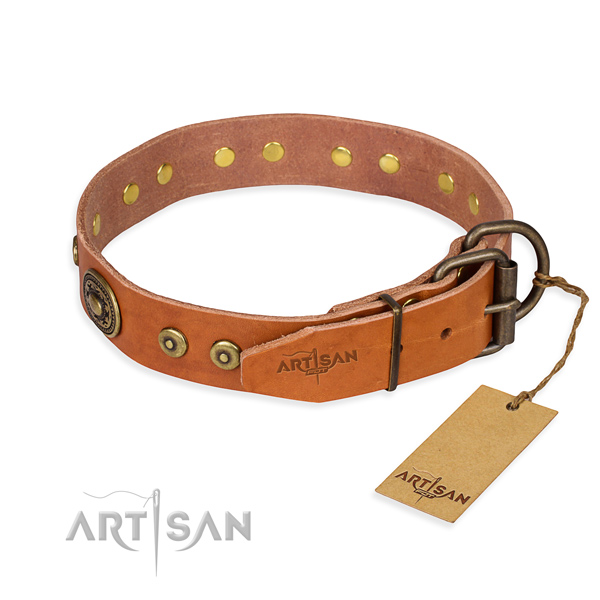 Leather dog collar made of best quality material with corrosion resistant decorations