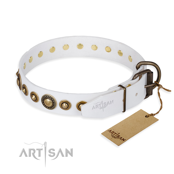Top rate full grain leather dog collar made for stylish walking