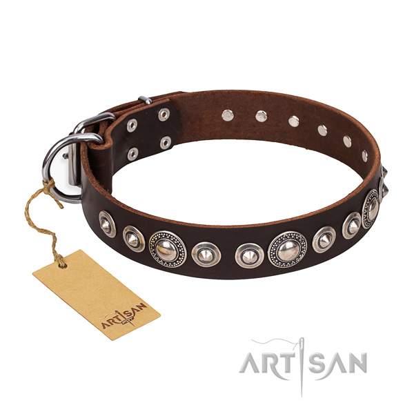 Natural genuine leather dog collar made of flexible material with corrosion proof studs