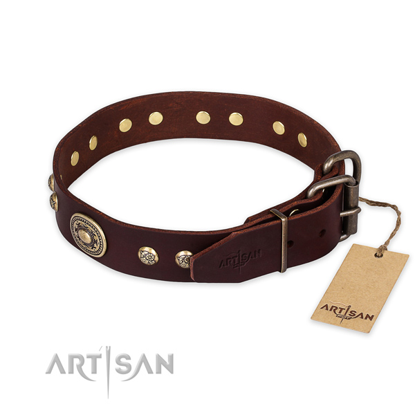 Corrosion proof hardware on full grain leather collar for basic training your canine