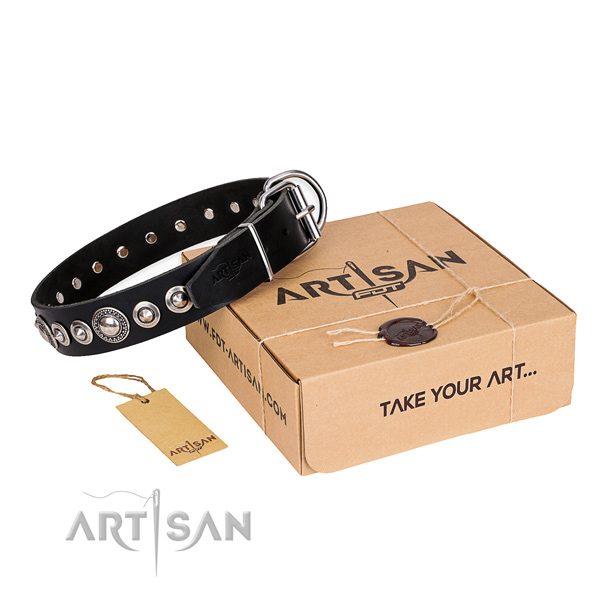 Top notch full grain leather dog collar
