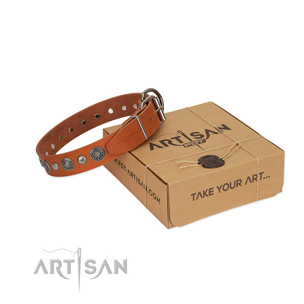 Full grain natural leather collar with corrosion resistant D-ring for your attractive dog