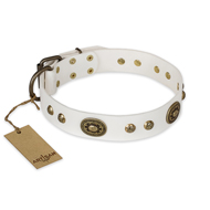 """Adorable Dream"" FDT Artisan White Leather Rottweiler Collar"