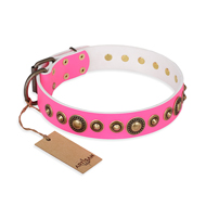 """Pink Gloss"" FDT Artisan Leather Rottweiler Collar with Old-Bronze Plated Circles and Studs"