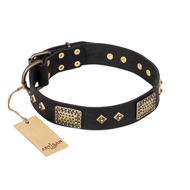 """Jewel Passion"" FDT Artisan Fashionable Black Leather Rottweiler Collar"