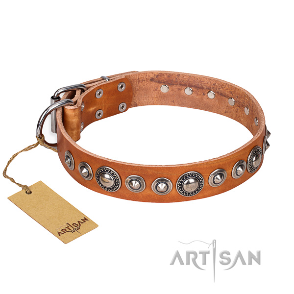 Full grain natural leather dog collar made of gentle to touch material with corrosion resistant buckle