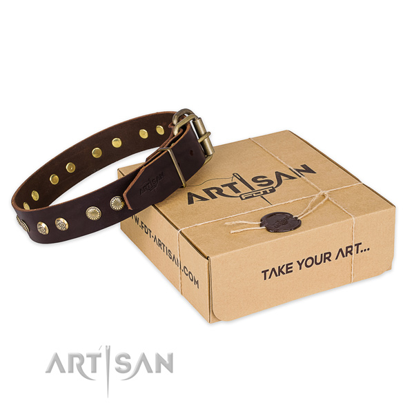 Corrosion proof hardware on full grain genuine leather collar for your stylish canine