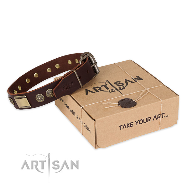 Corrosion proof buckle on leather dog collar for comfortable wearing