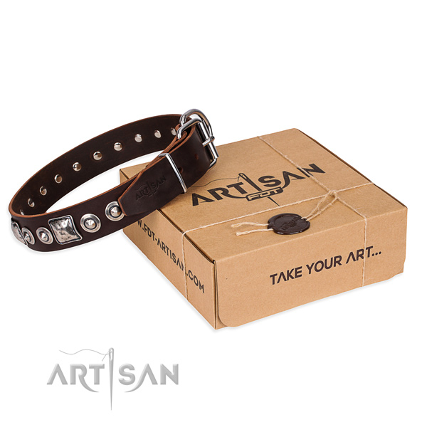 Genuine leather dog collar made of gentle to touch material with reliable traditional buckle