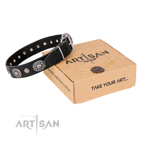 Flexible natural genuine leather dog collar made for handy use
