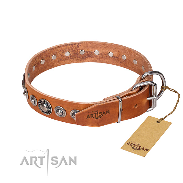 Full grain natural leather dog collar made of best quality material with corrosion proof adornments