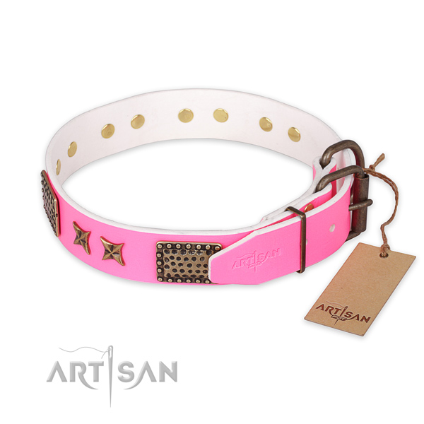 Corrosion resistant fittings on natural genuine leather collar for your stylish canine