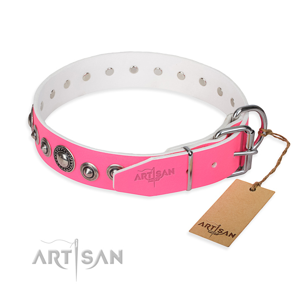 Genuine leather dog collar made of quality material with rust resistant studs