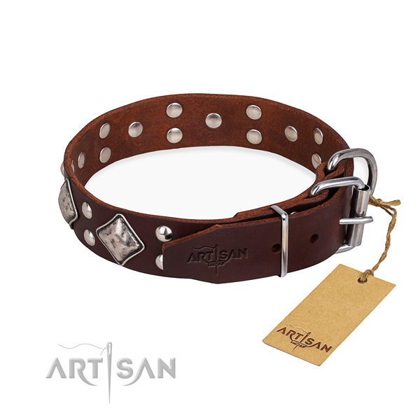 Full grain leather dog collar with impressive rust-proof embellishments