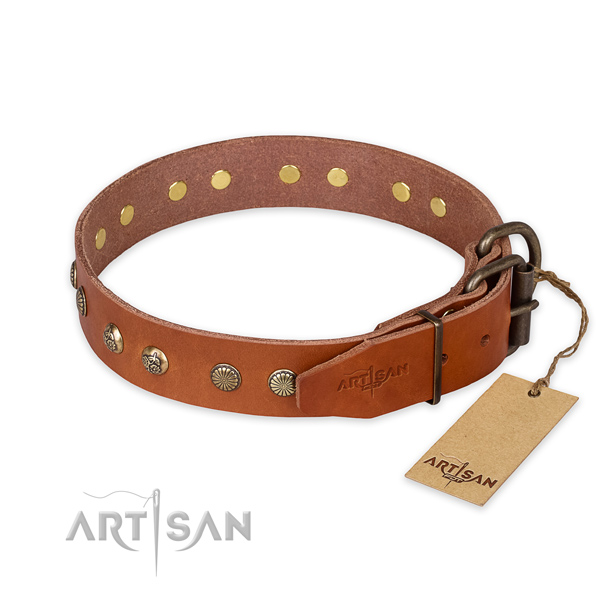 Durable buckle on full grain natural leather collar for your stylish four-legged friend