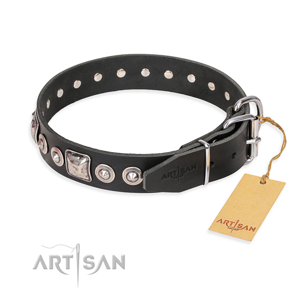Full grain genuine leather dog collar made of top rate material with rust resistant decorations