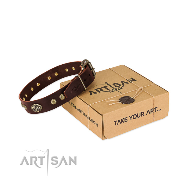 Corrosion resistant studs on full grain genuine leather dog collar for your four-legged friend
