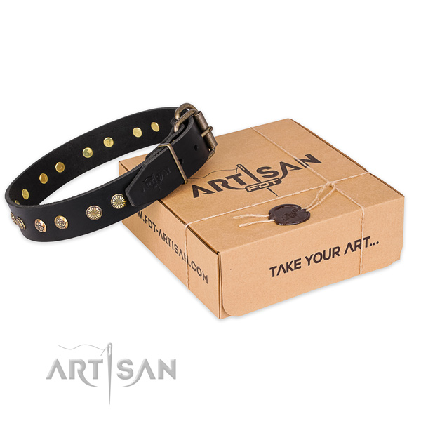 Corrosion resistant buckle on full grain genuine leather collar for your stylish canine