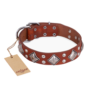 """Magic Squares"" FDT Artisan Tan Leather Rottweiler Collar with Silver-like Decor"