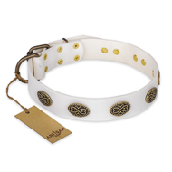 """Lovely Lace"" FDT Artisan White Leather Rottweiler Collar with Old Bronze Look Ovals"