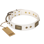 """Snow-covered Gold"" FDT Artisan White Leather Rottweiler Collar"