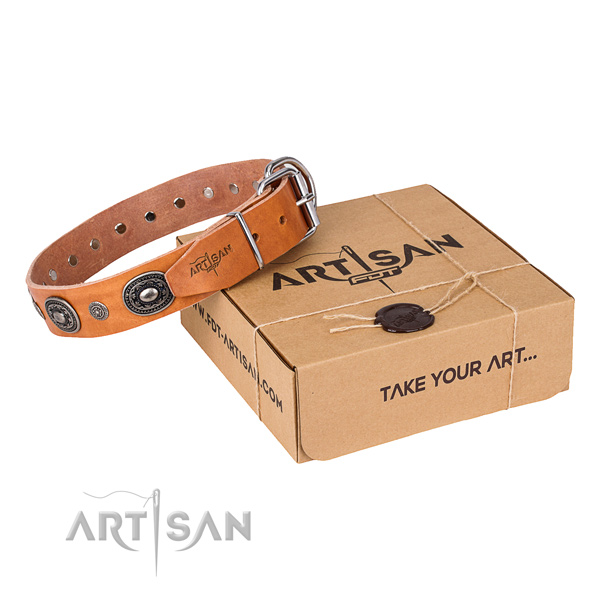 Soft natural genuine leather dog collar created for comfy wearing