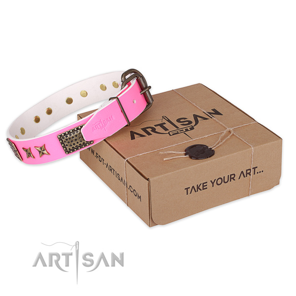 Corrosion resistant fittings on full grain genuine leather collar for your impressive dog