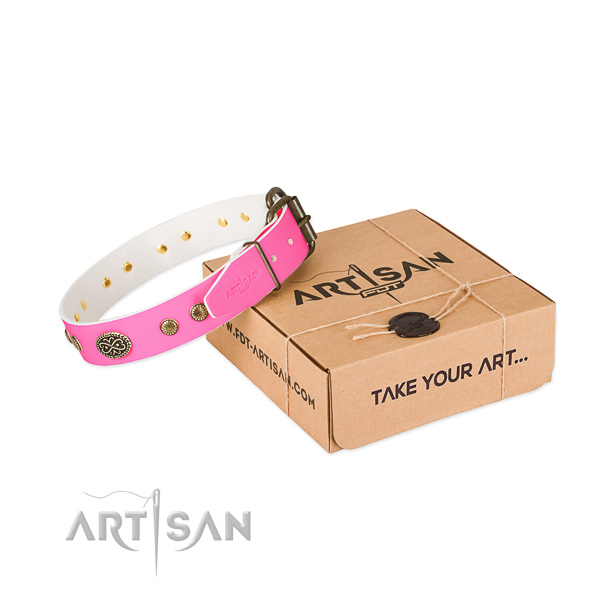 Durable studs on leather dog collar for your doggie