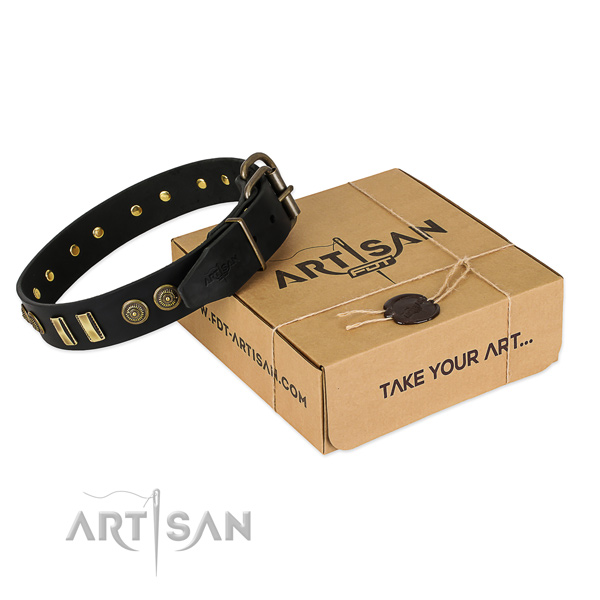 Rust-proof hardware on full grain leather dog collar for your dog
