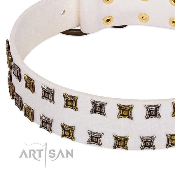 Flexible natural leather dog collar for your lovely pet