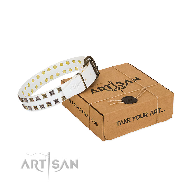 Full grain genuine leather collar with exquisite studs for your pet