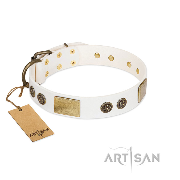 Convenient full grain leather dog collar for comfy wearing