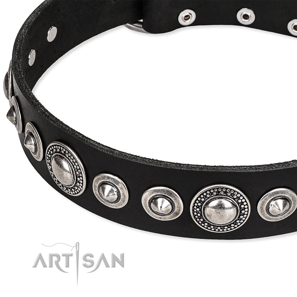 Handy use decorated dog collar of fine quality full grain genuine leather
