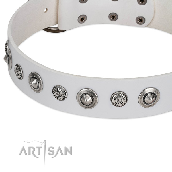 Full grain genuine leather collar with durable traditional buckle for your lovely canine