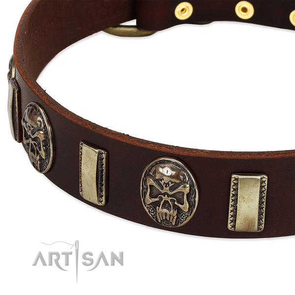 Durable fittings on genuine leather dog collar for your doggie