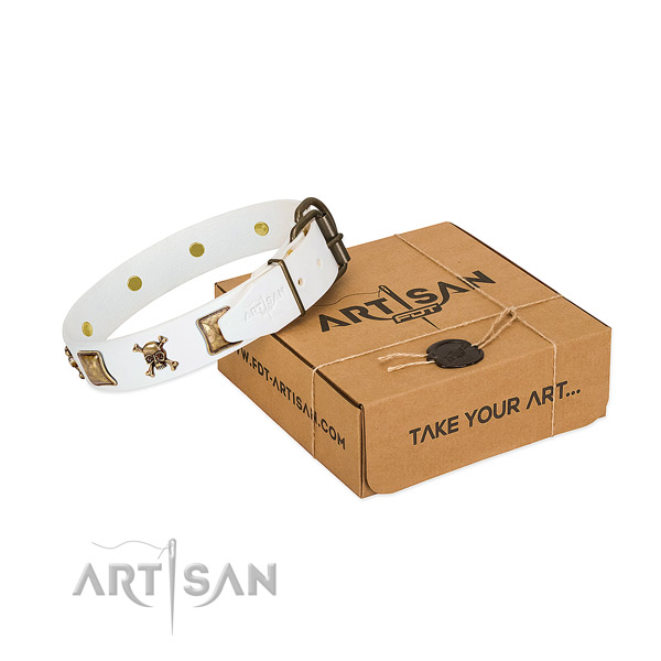 Stylish full grain genuine leather dog collar with durable studs