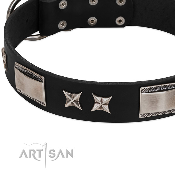 Gentle to touch full grain leather dog collar with durable buckle