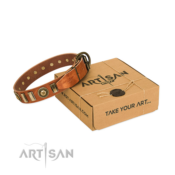 Best quality full grain leather dog collar with durable hardware