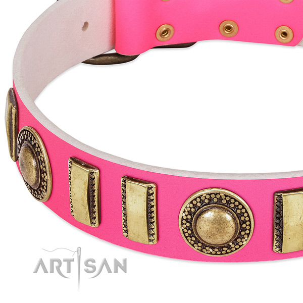 Reliable genuine leather dog collar for your handsome canine
