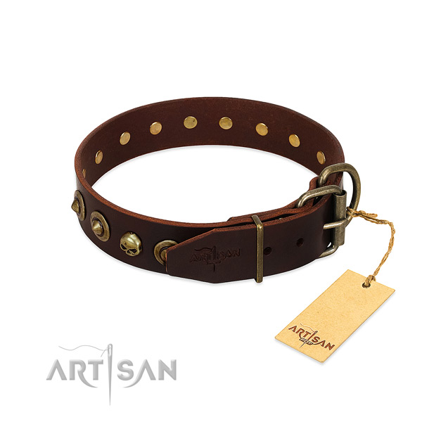 Full grain genuine leather collar with stylish decorations for your four-legged friend