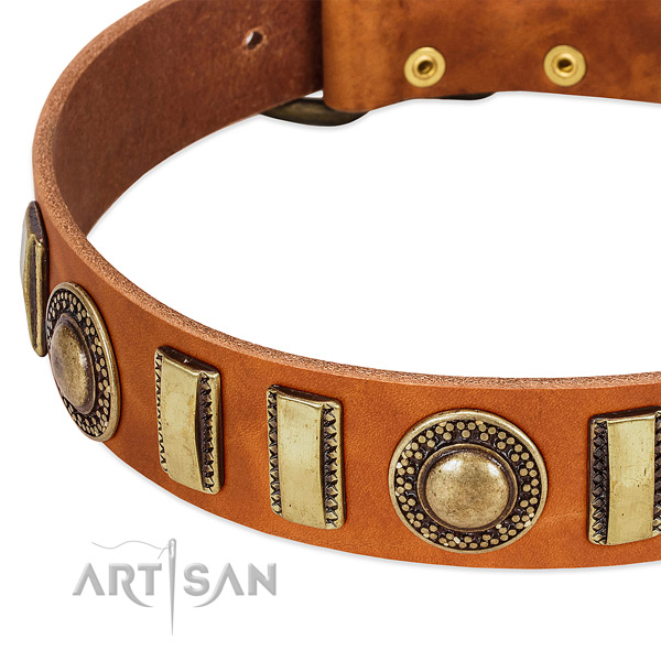 High quality full grain leather dog collar with durable D-ring